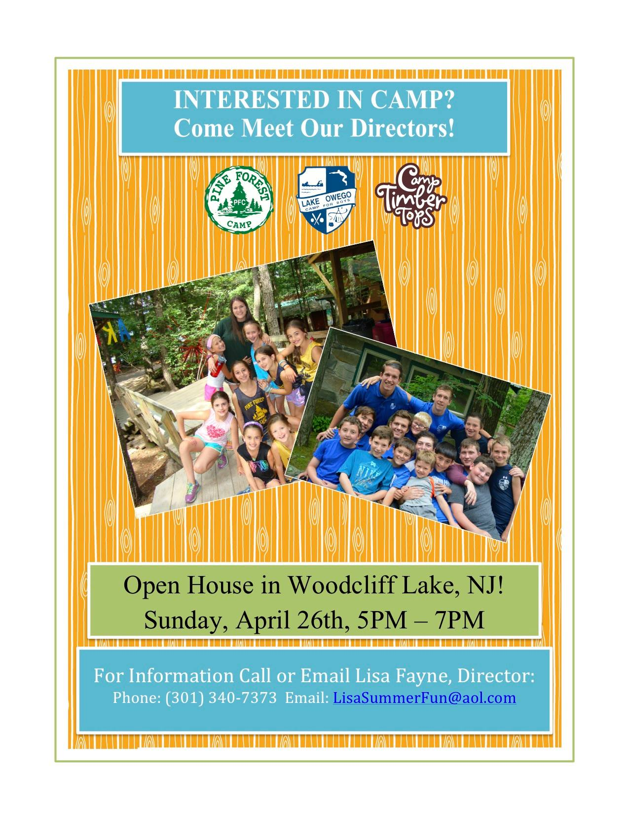 Woodcliff Lake Open House: This Sunday! - Lake Owego Camp